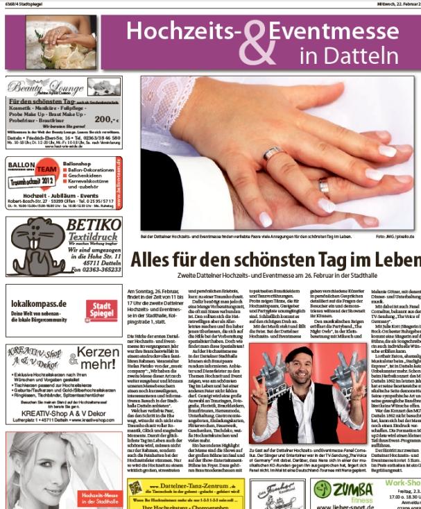 Berichts Stadtspiegel Hochzeitsmesse Datteln
